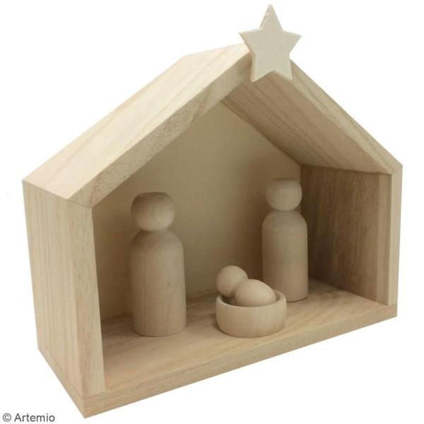 Crèche et pions en bois en bois à décorer - 18 x 18 x 15 cm - 12 pcs - Photo n°2