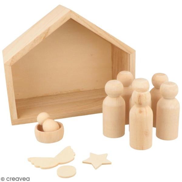 Crèche et pions en bois en bois à décorer - 18 x 18 x 15 cm - 12 pcs - Photo n°1