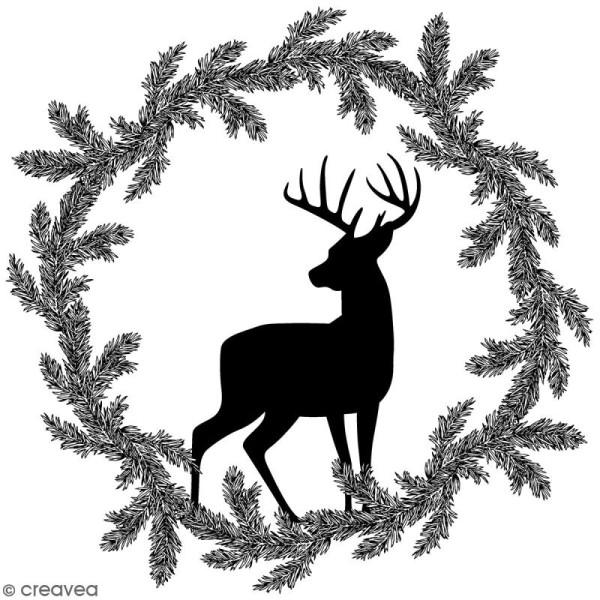 Tampon Bois Artemio - Couronne renne Misty Winter - 7,5 x 7,5 cm - Photo n°1