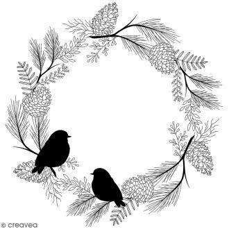 Tampon Bois Artemio - Couronne oiseaux Misty Winter - 10 x 10 cm