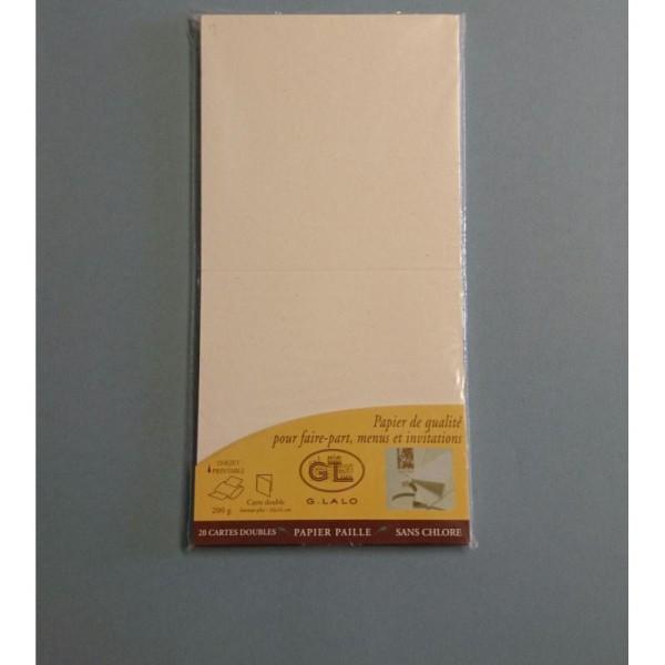 20 Cartes doubles papier de paille 200g - Photo n°1