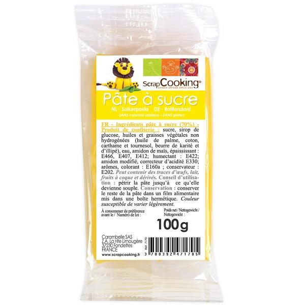 Pâte à sucre 100 gr - Jaune - Photo n°1