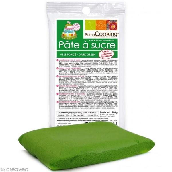 Pâte à sucre 100 gr - Vert foncé - Photo n°1