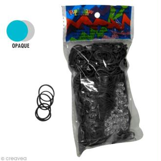Recharge Rainbow loom 600 élastiques - Noir + 24 fermoirs