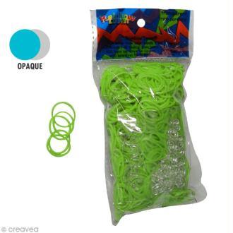 Recharge Rainbow loom 600 élastiques - Vert fluo + 24 fermoirs