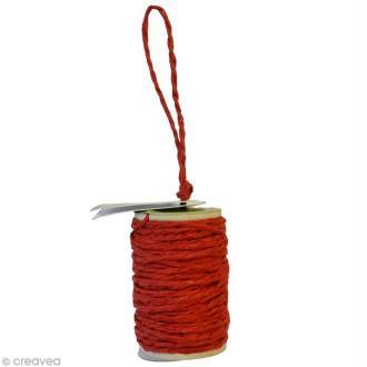 Cordelette en papier 2 mm - Rouge - 10 m