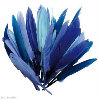 Plumes Indien Camaïeu bleu - 15 cm - 10 gr