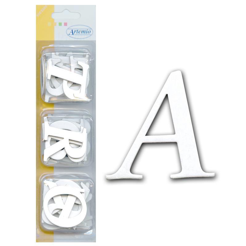 Alphabet en carton blanc autocollant Majuscule Basique Mini x 60 - Photo n°1