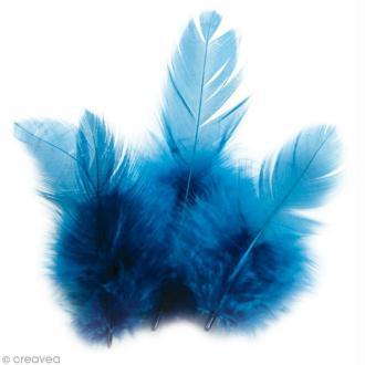 Plumes Coq Bleu turquoise - 10 cm - 3 gr