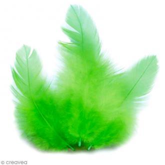 Plumes Coq Vert clair - 10 cm - 3 gr