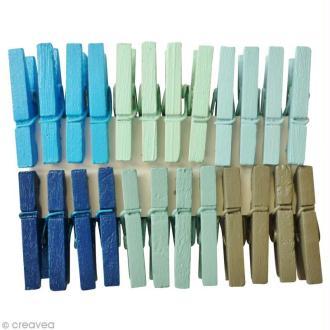 Pinces à linge 2,5 cm - Couleurs Océan - 24 pcs