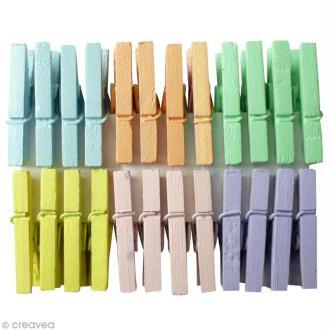 Pinces à linge 2,5 cm - Couleurs Pastel - 24 pcs