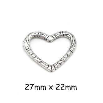4 Perles Coeur Cadre En Métal Argenté Travaillé 27mm