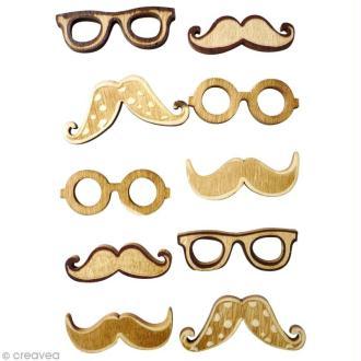 Miniature en bois adhésive 3D - Lunettes et moustaches - 10 pcs