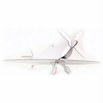 Avion en carton blanc Spitfire (Lot de 2) 26cm Maquette Leolandia