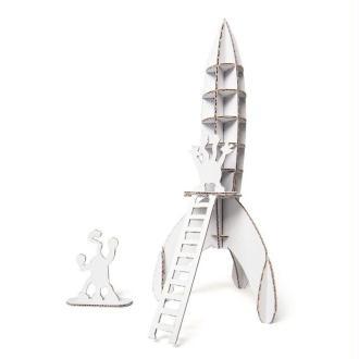 Mini Fusée en carton blanc à construire 19cm Maquette Leolandia