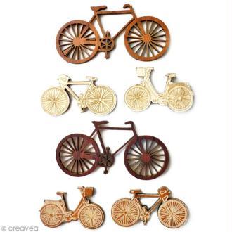 Miniature en bois adhésive 3D - Vélos - 6 pcs