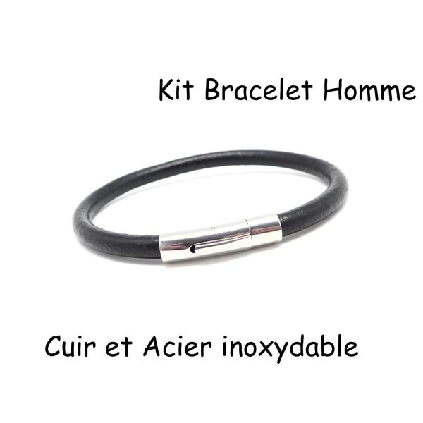 c3659f23ffab8 Kit Bracelet Homme Cuir Noir Et Fermoir Acier Inoxydable 6mm - Photo n°1