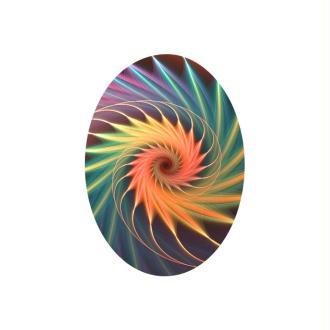 2 Cabochons  Verre 18 mm, Cabochon Ovale, Fractale, Spirale, Corail, Multicolore - 18*13 mm
