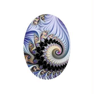 1 Cabochon Verre 25 mm, Cabochon Ovale, Fractale, Spirale, Noir, Gris, Bleu