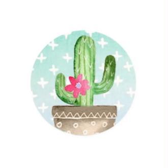 2 Cabochons Verre 16 mm, Cabochon Rond, Cactus, Plante Tropicale 2