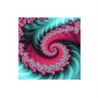 1 Cabochon Verre 20 mm, Cabochon Carré, Fractale, Spirale, Rose et Bleu