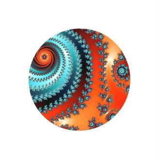 2 Cabochons Verre 12 mm, Cabochon Rond, Fractale, Spirale, Orange et Bleu