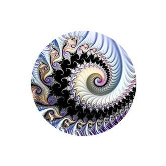 2 Cabochons Verre 14 mm, Cabochon Rond, Fractale, Spirale, Noir, Gris, Bleu