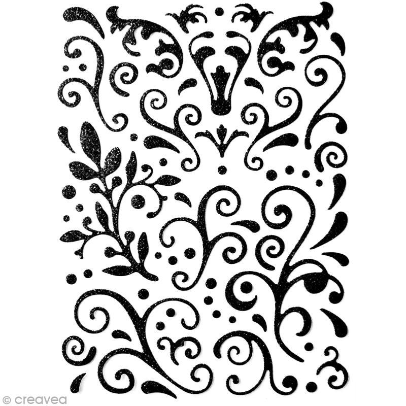 stickers arabesques noir paillettes 67 pcs stickers. Black Bedroom Furniture Sets. Home Design Ideas