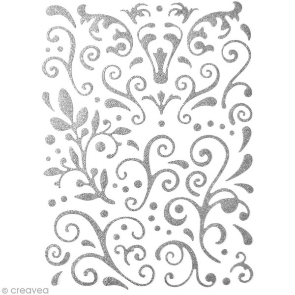 Stickers Arabesques Gris argent à paillettes - 67 pcs - Photo n°1