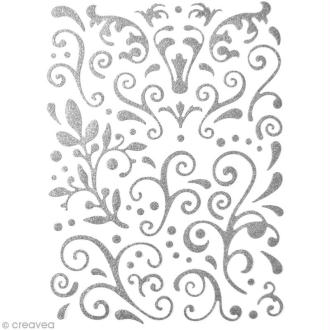 Stickers Arabesques Gris argent à paillettes - 67 pcs