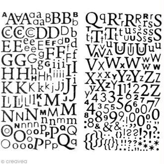 Stickers Alphabet Noir à paillettes - 300 pcs