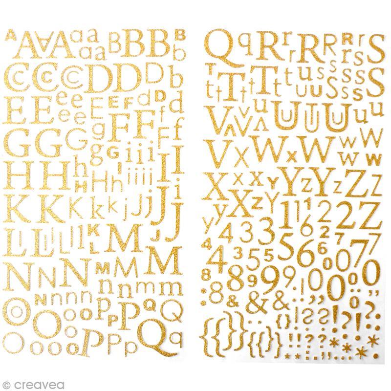 Stickers Alphabet Doré à paillettes - 300 pcs - Photo n°1