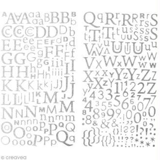 Stickers Alphabet Gris argenté à paillettes - 300 pcs