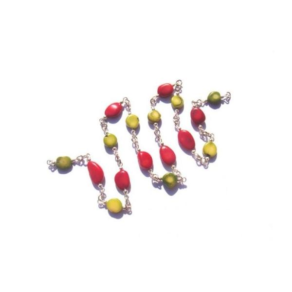 Corail teinté rouge et vert : 21 CM de chaîne A LA COUPE sans nickel - Photo n°1