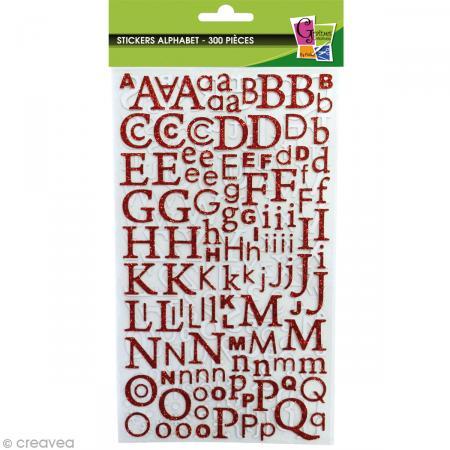 Stickers Alphabet Rouge à paillettes - 300 pcs - Photo n°2