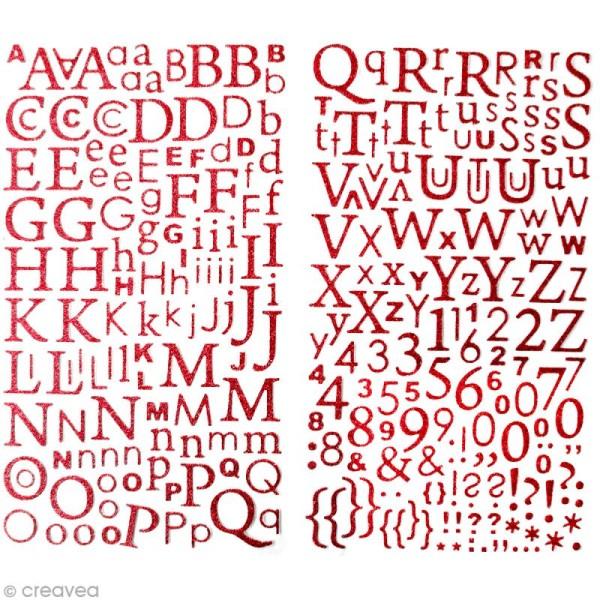 Stickers Alphabet Rouge à paillettes - 300 pcs - Photo n°1