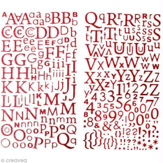Stickers Alphabet Rouge à paillettes - 300 pcs