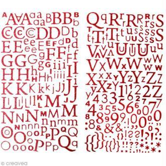 Stickers Alphabet Rouge à paillettes - 300 pcs