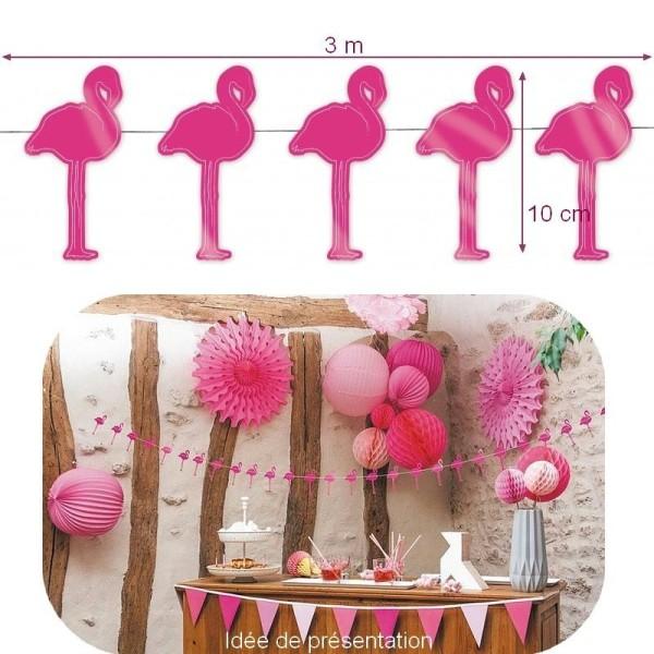 Guirlande Flamants Roses décorative en papier cartonné pour une déco Tropicale et Estivale, haut.10 - Photo n°1