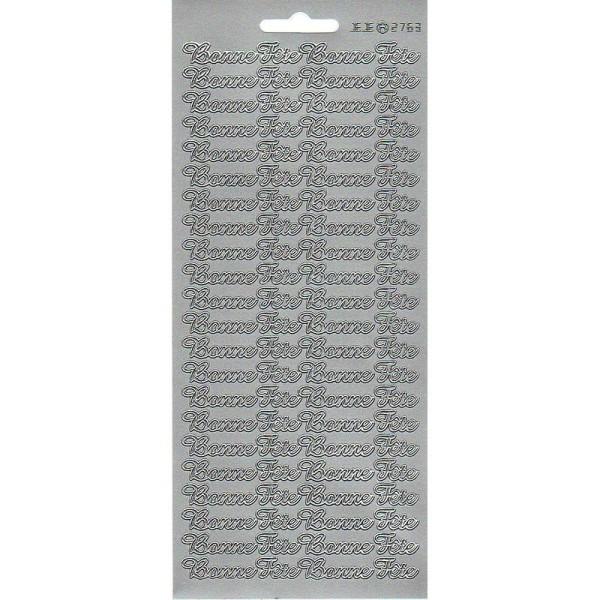 Sticker de contour Bonne Fête Argenté, Planche 10 x 23 cm, autocollants peel off pour scrapbooking - Photo n°1