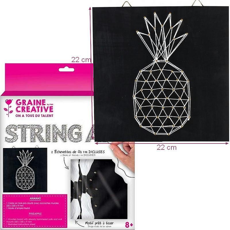 kit tableau string art ananas noir carr clous et fils dim 22 x 22 x 0 9 cm susprendre. Black Bedroom Furniture Sets. Home Design Ideas