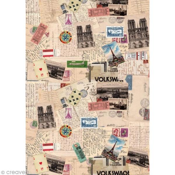 Tissu adhésif A4 Vintage - Collages - Photo n°1