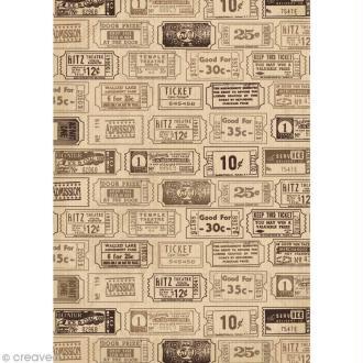 Tissu adhésif A4 Vintage - Tickets Kraft