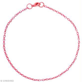 Chaine bracelet Rose - Petites mailles 2 mm - 20 cm