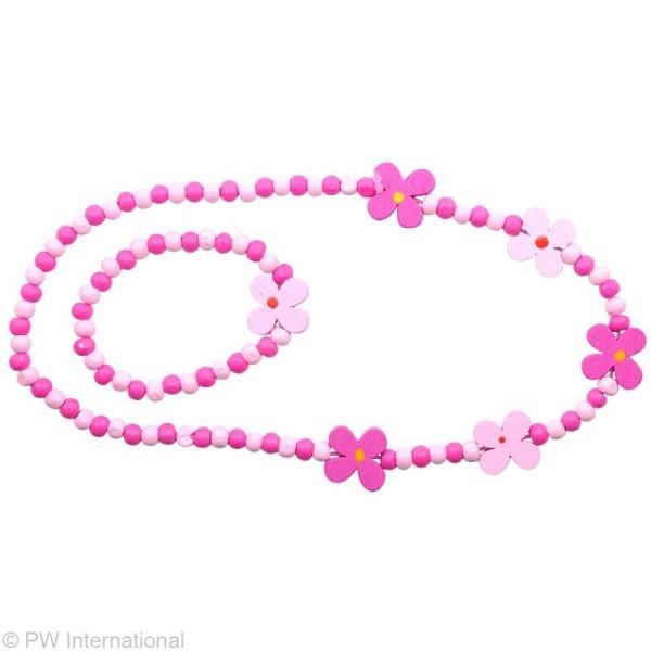 Kit bijoux - Collier et bracelet - Fleurs Roses - Photo n°2