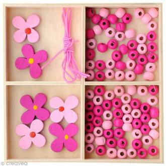 Kit bijoux - Collier et bracelet - Fleurs Roses