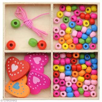Kit bijoux - Collier et bracelet - Coeurs Multicolores