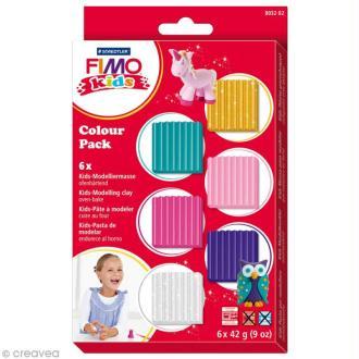 Kit pâte Fimo Kids fille - Assortiment de 6 pains