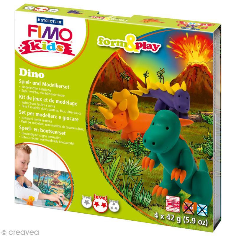 Kit Fimo Kids garçon - Dinosaures - niveau moyen - Photo n°1